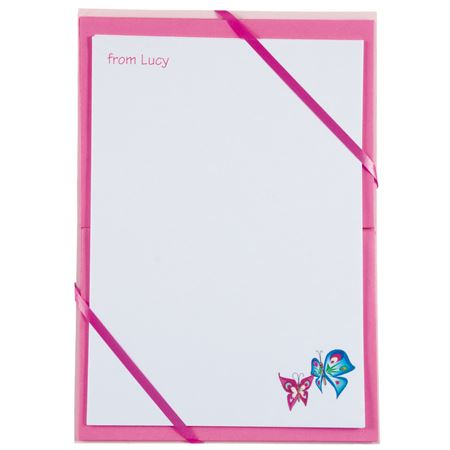 Picture of Named Notepaper - Butterfly (Pink)