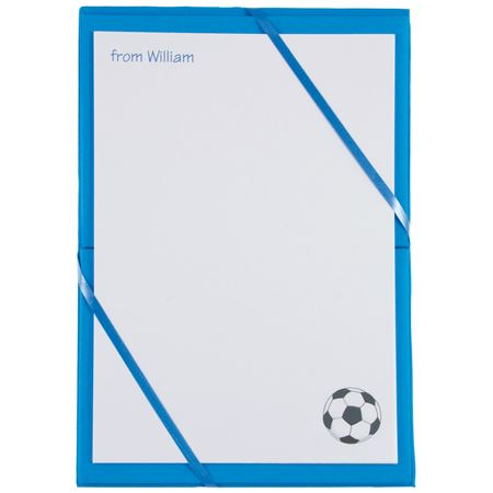 Picture of Named Notepaper - Football (Blue)