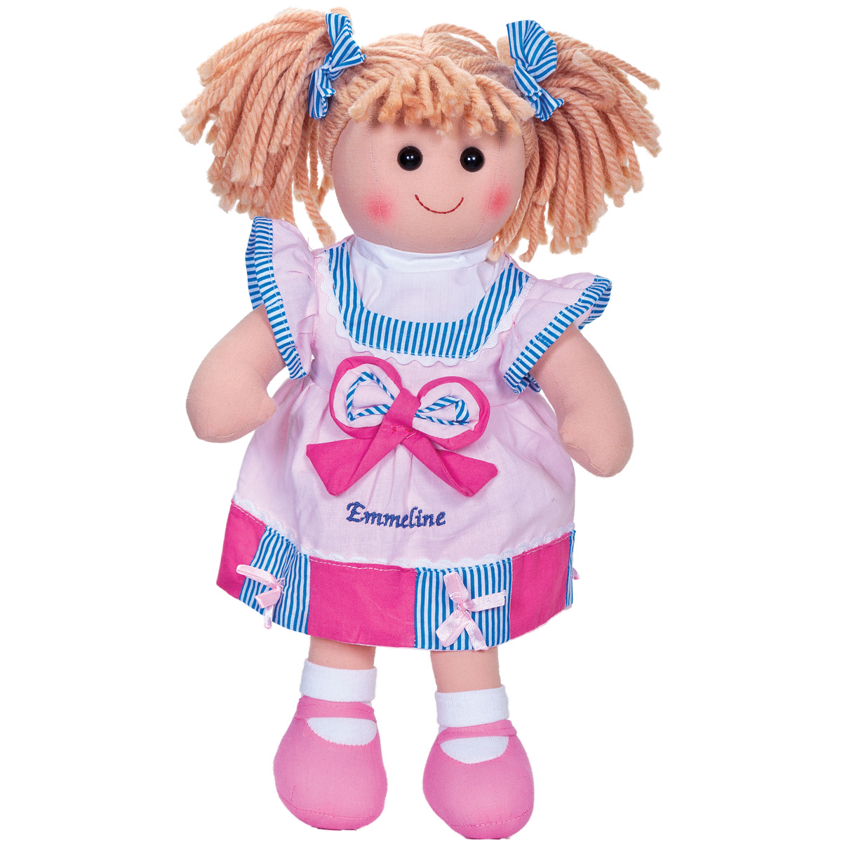 Personalised Rag Doll Blonde Kids Embroidered Gifts