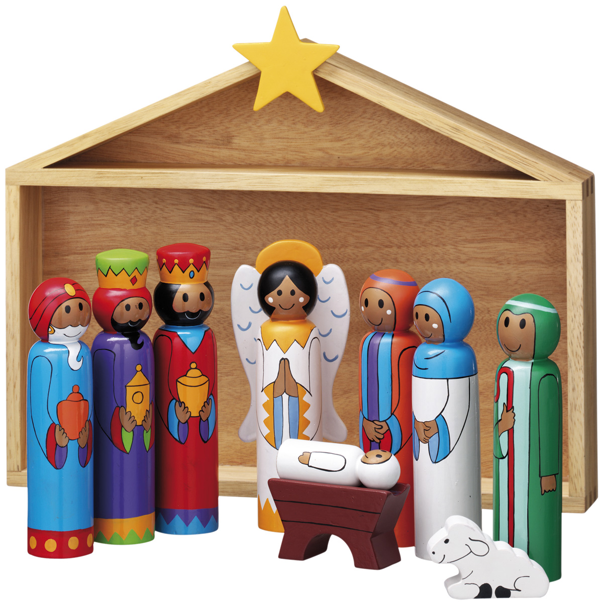 Wooden Nativity Set Lanka Kade Traditional Wooden Toys