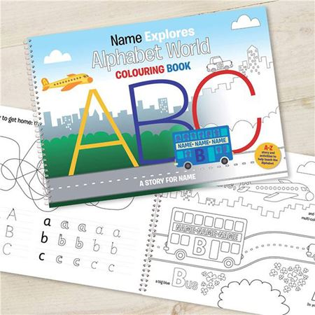 Picture of Personalised Alphabet World Colouring Book (A3)