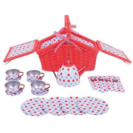 Picture of Basket Tea Set (Red & Blue)