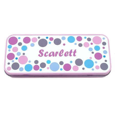 Picture of Named Pencil Tin - Pink Bubbles