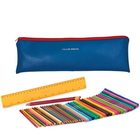 Picture of Jumbo Zipped Pencil Case Set - Blue