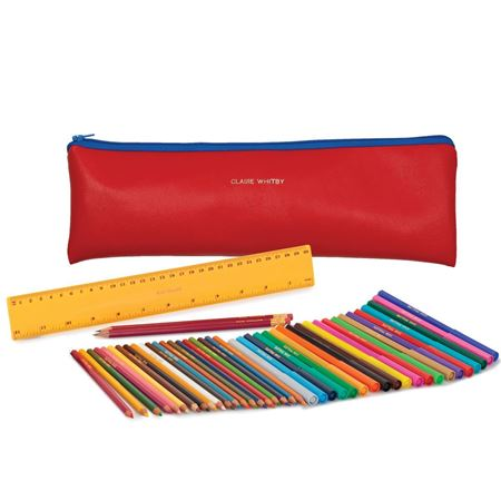 Picture of Jumbo Zipped Pencil Case Set - Red